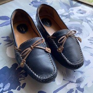 Clarks Dunbar Racer Loafer Navy Brown Boat Shoe
